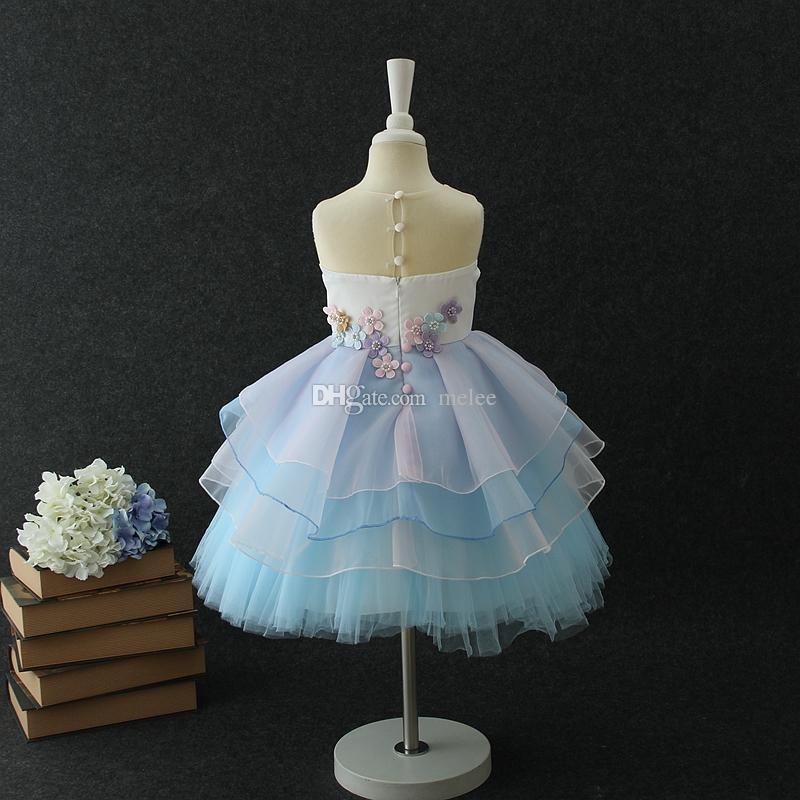 유니콘 인형 어린이 여름 파티 드레스 여자 드레스 플로랄 여자 공주 드레스 귀여운 생일 아이 파티 드레스 웨딩 드레스 Pettiskirt
