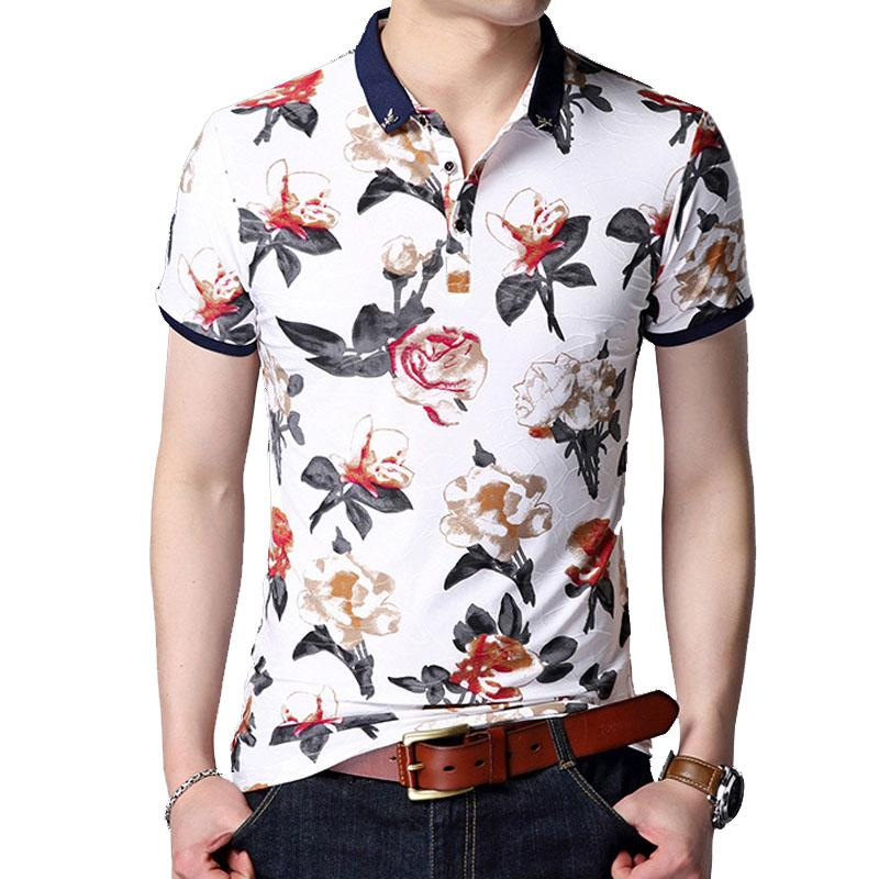 43b2ef1bb7969c 2019 Mens Polo Shirts Brands Clothing Floral Slim Fit Polo Men Short Sleeve  Turn Down Collor Casual Polo Shirt Men L 5xl From Clothingdh