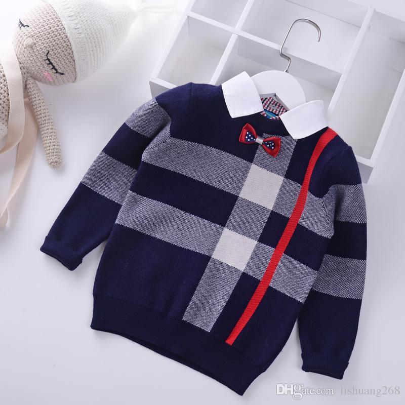 9b1c13ddaaa6 2018 Shirt Collar Boys Sweaters Baby Stripe Plaid Pullover Knit Kids ...