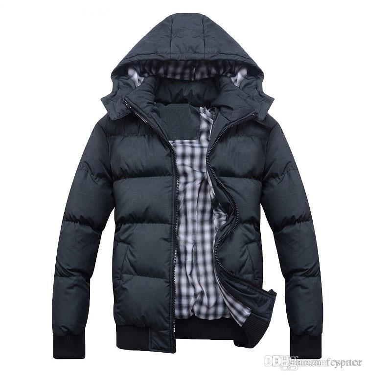 0a3ccd959ed98 Wholesale- Men s Winter Jacket Coat Cotton-padded Hooded Warm Dark ...