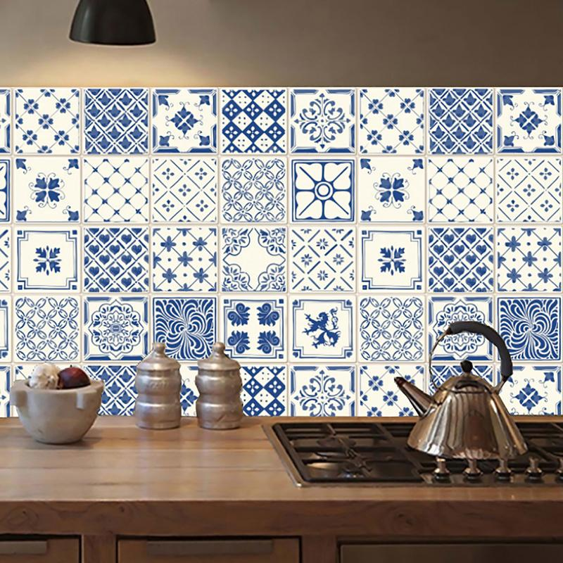 self adhesive mandala wall tiles stickers waist line kitchen wall
