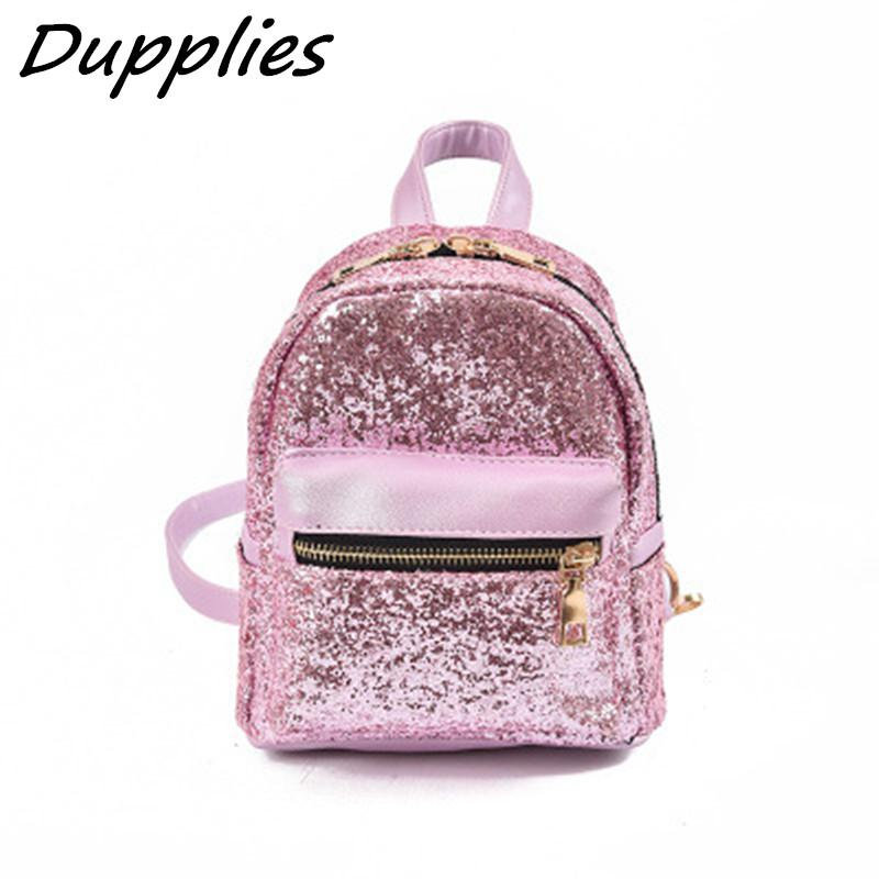 411d1848e856 Dupplies Mini Women Backpack Shoulder Bags For Teenage Girls Pu Small  Backpacks Female Travel Rucksack Sequins School Backpacks Mochilas Jansport  School ...