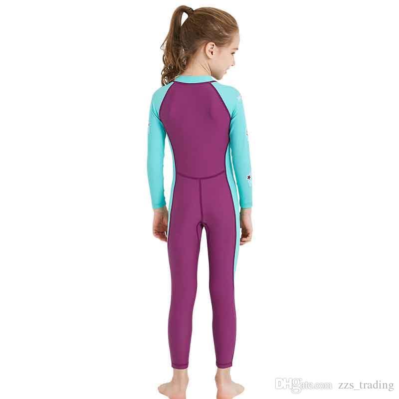 Son stilleri çocuk Mayo Uzun kollu Siyam Dalış Takım Uv Dalış Malzemesi Sörf Giyim Çocuklar Için Sıcak Dalış Takım Elbise