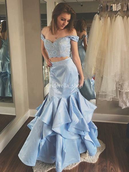 1d0701af416 Modest Two Piece Prom Dresses 2019 Off Shoulder Appliques Lace Top Mermaid  Long Light Blue Evening Party Pageant Gowns Vestidos De Fiesta Couture Prom  ...