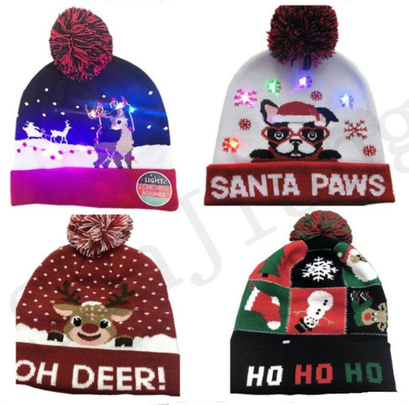 2019Christmas LED Light Knitted Hat Xmas Reindeer Elk Beanie Cap Fur Poms Crochet Hats Santa Claus Snowman Skull Caps Festivals Luminous Hat