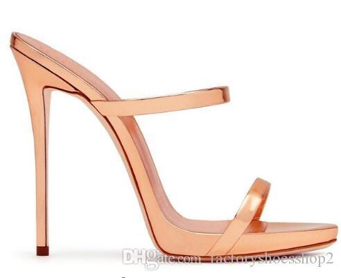 2018 Oro De Dos Sandalias Correas Tacones Rosa Sexy Charol Zapatos Tiras Mujeres Estilete Señoras Altos Lindos Mulas Vestir htxsQrdC