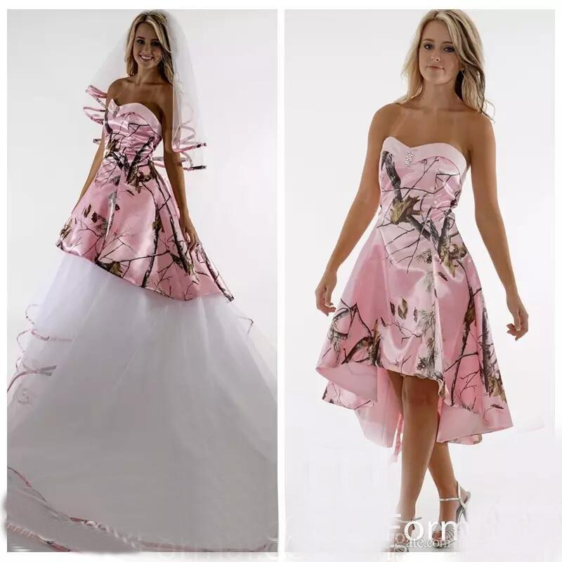Sweetheart Pink Satin Camo Wedding Dress With Detachable Tulle 2018 ...