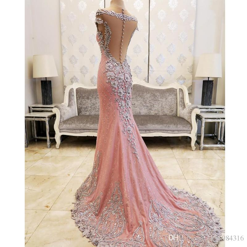 Gorgeous Luxurious Pink Prom Dress Sparkling Crystals Beaded Sheer Neckline Appliques Pageant Dress Fashion Dubai Mermaid Evening Dresses
