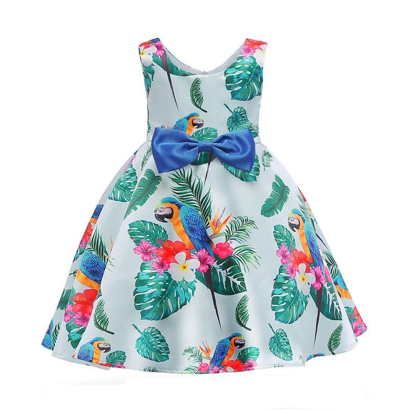 classical girl dress short sleeveless green leaves bowtie princess dress for 3-10years girls kids children party dinner performance dress