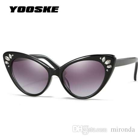 959320baef33 YOOSKE Luxury Cat Eye Sunglasses Women Rhinestone Sunglasses Female Sexy  Crystal Vintage Cateyes Sunglass Shades UV400 Black Sunglasses Cycling  Sunglasses ...