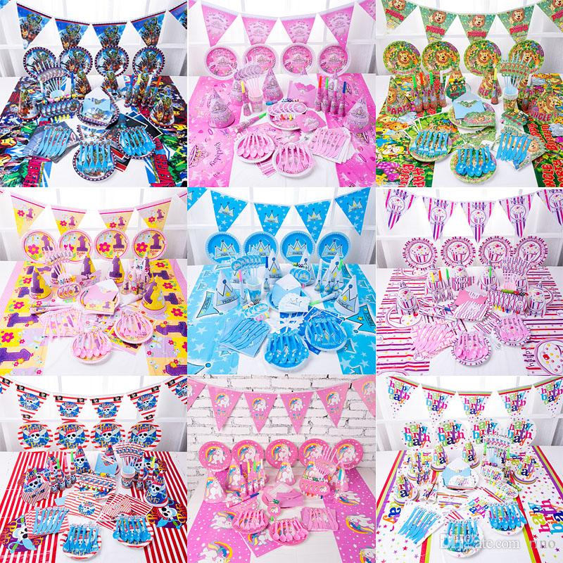Kids Birthday Party Decoration Sets Supply 38 Designs Unicorn 1st Supplies Cartoon Them Gift Set Pack Personalized Child Gifts