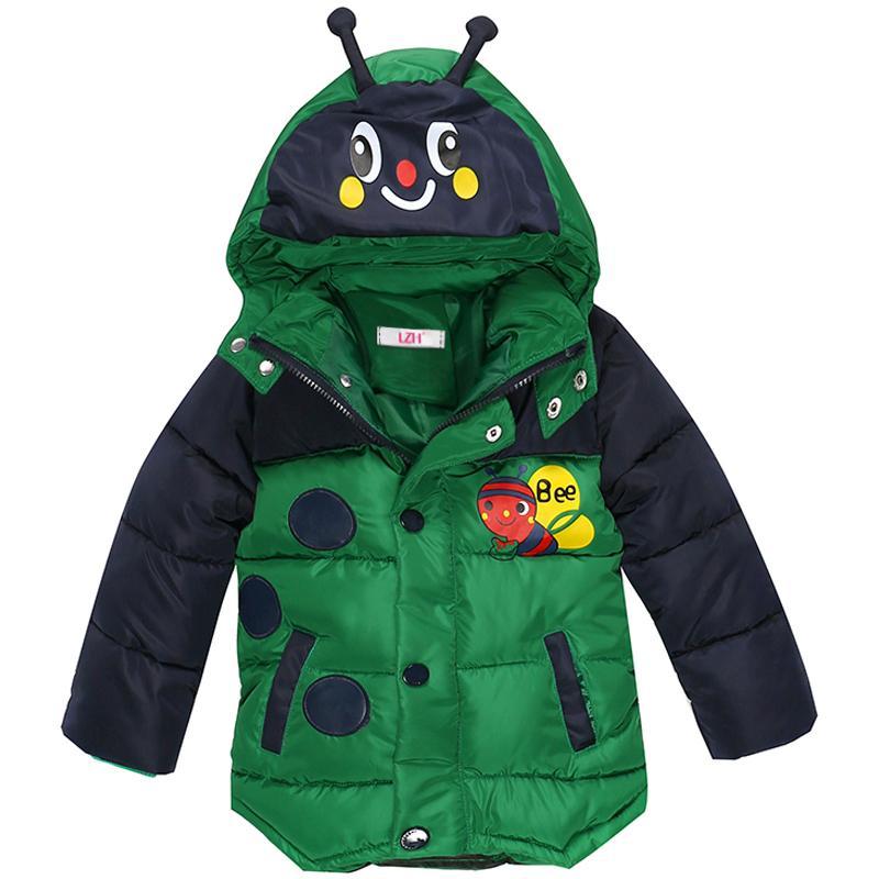LZH Baby Jungen Jacke 2017 Winterjacke Für Jungen Bienen Mit Kapuze Daunenjacke Kinder Warme Oberbekleidung Kinder Kleidung Infant Jungen Mantel