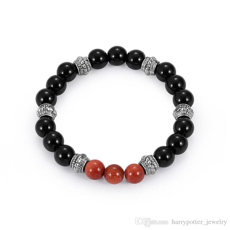Lava Stone Strand Bracelets Bangles Natural Bead Siver Color DIY Pulseras para Mujeres Negro rojo Mens Joyería 320128