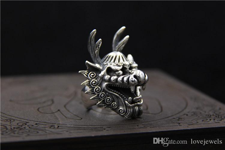 925 sterling silver rings vintage Carved bibcock domineering ring mens marcasite dragon king ring adjustable hip hop jewelry wholesale china