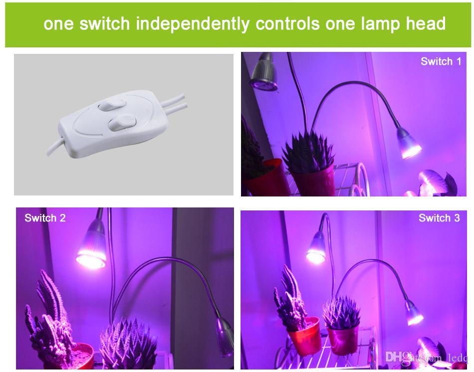 Impianto LED Grow Light 7W 14W Lampada a espansione a collo di cigno flessibile Flower Fruit Hydroponic Lighting Proiettori a testa doppia Bulb impianti interni FCC