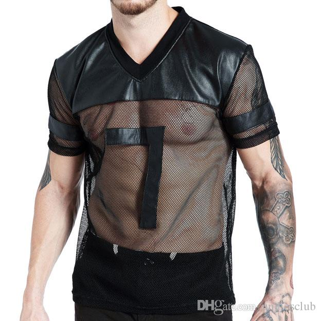 7fcd99e6 Mens T Shirt Faux Leather Mesh Stitching Breathable Transparent Mens Muscle  Shirt Slim Fit T Shirts Underwear Sexy Tee Shirts T Shirt Sale Cool Shirt  ...