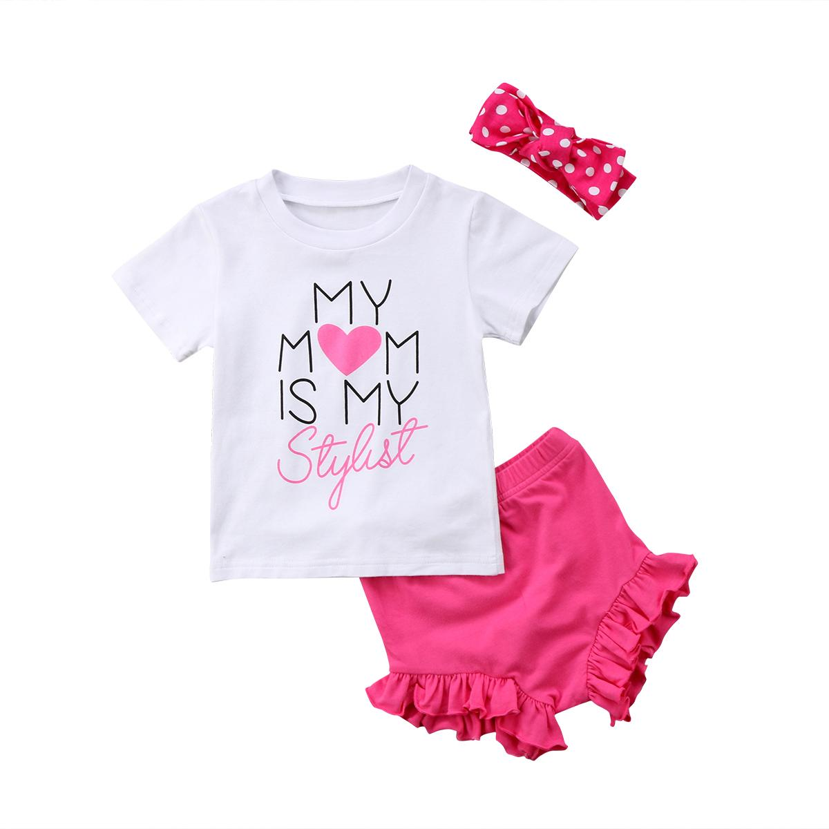 af8263b87 2019 Newborn Infant Baby Girls Clothing Tops T Shirt Shorts Headband ...
