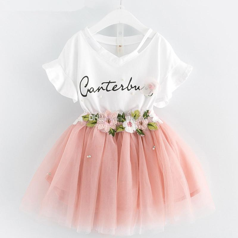 Baby girls lace skirts outfits girls Letter print top+flower tutu skirts 2pcs/set 2018 summer Baby suit Boutique kids Clothing Sets C3863