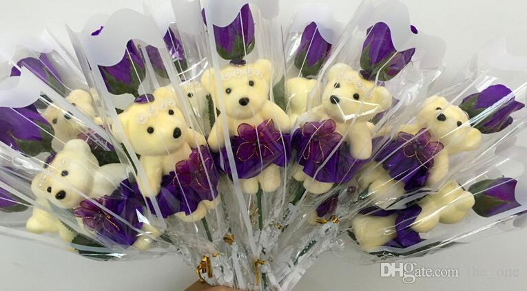 teddy bear rose soap flower bouquet multicolor cute doll gift soap flowers romantic couples For Valentine Day Wedding gifts