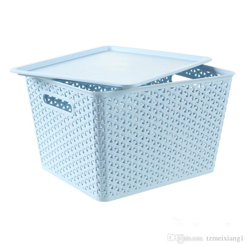 Small Dust Cover with Lid Storage Basket Storage Basket Plastic ...