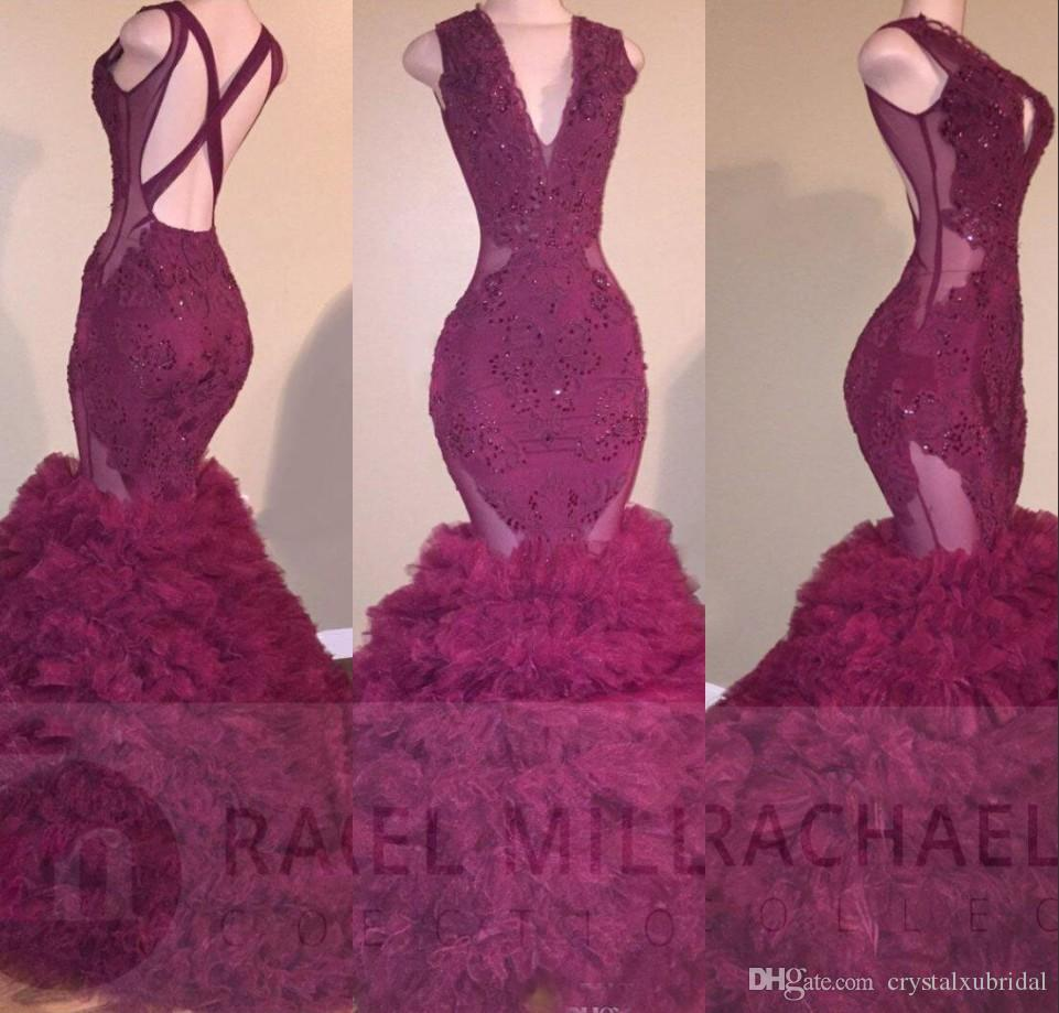 2018 Sexy Purple Sirena Vestidos de baile V Cuello Criss Cross Backless Puffy Tiered Lace Appliques Largo Con cuentas Ilusión Noche Vestidos de fiesta Vestir