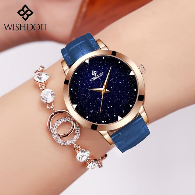 WISHDOIT Luxury Brand Blue Casual Geneva Women Starry Sky Design Quartz  Watch Fashion Dress Hodinky Female Clock Reloj Mujer Y1890304 Watch Watches  From ... 95c0f486d6d