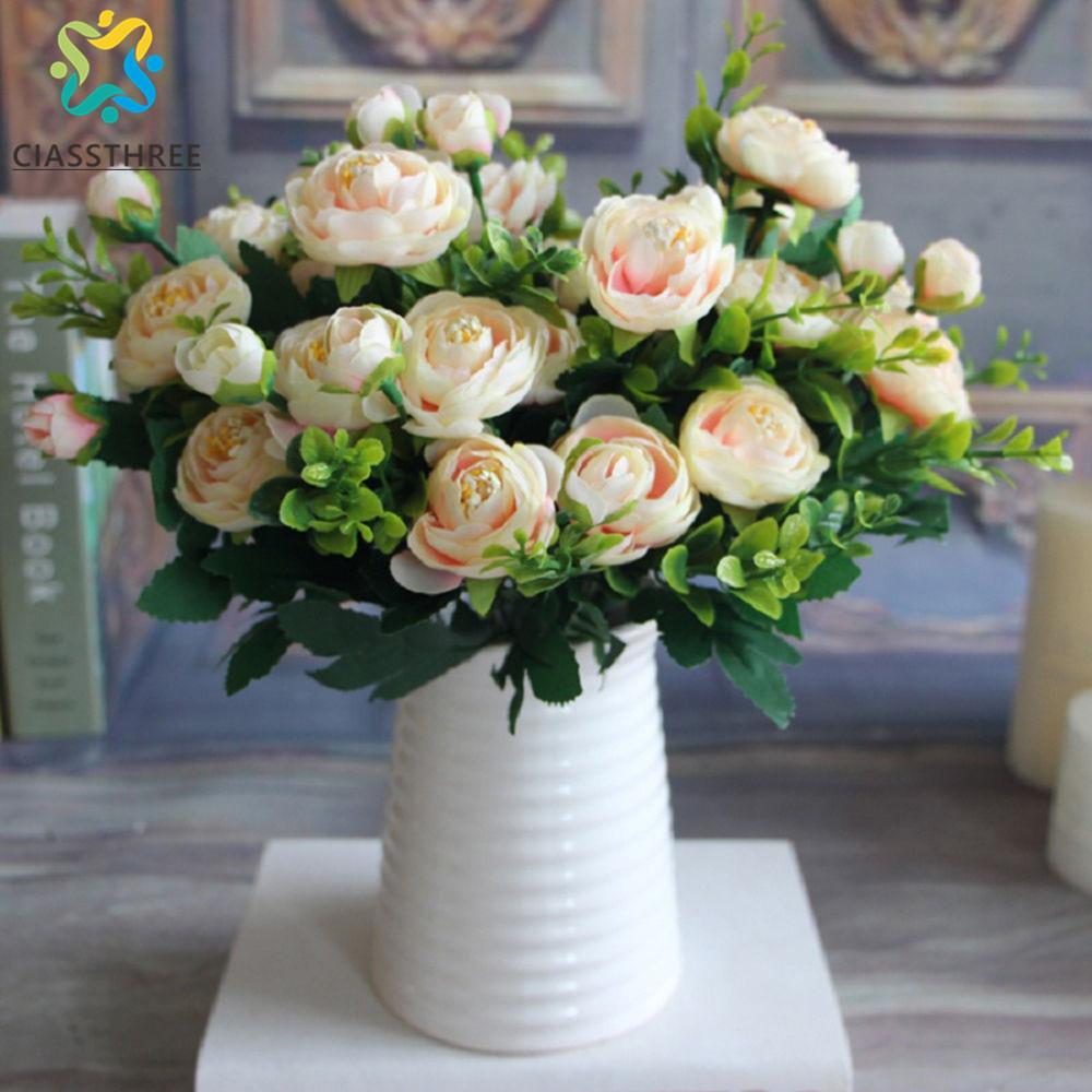 Discount high quality silk flower european 1 bouquet artificial discount high quality silk flower european 1 bouquet artificial flowers fall vivid peony fake leaf wedding home party decoration from china dhgate mightylinksfo Gallery