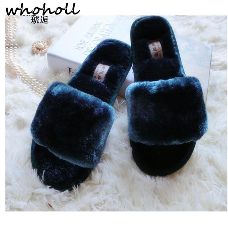 c18c1ab1fd6fb WHOHOLL Women's Winter Sheep Fur Wool Slippers Plush Fur Slippers Women's  Indoor House Floor Flat Cotton Wool Hot
