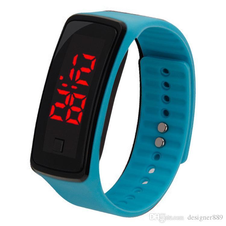 Commercio all'ingrosso New Fashion Sport LED Orologi Candy Jelly uomini donne in gomma di silicone Touch Screen digitale Orologi braccialetto da polso DHL libero
