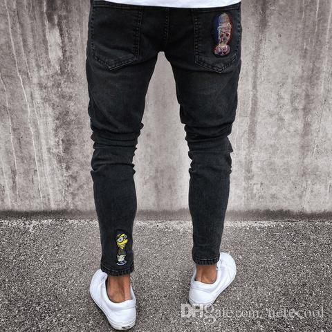 Skinny Fit Slim Biker Noir Acheter Crâne Hommes Jeans Homme 5wzBqPvx