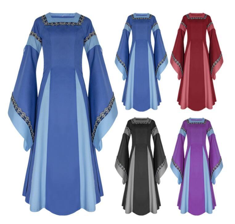 Women Cosplay Luxury Medieval Style Trumpet Sleeve Court Dress Retro  Princess Dress Retro Long Medieval Dresses