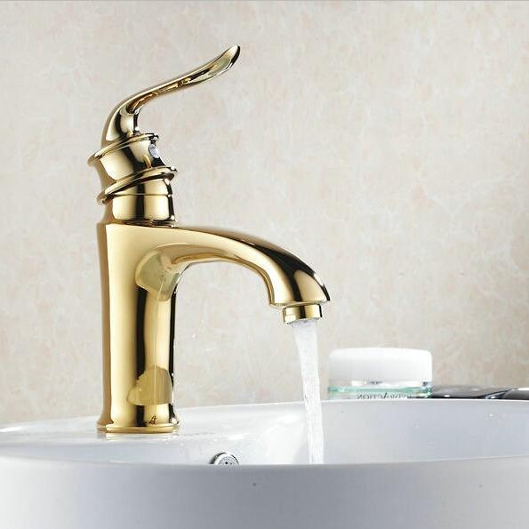 Antique Brass Basin Faucet Vanity Sink Mixer Tap Golden Finish ...