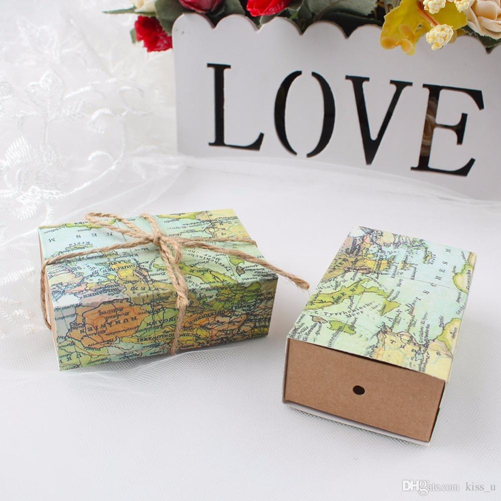 Wedding Party Favors Box Candy Gift Box With World Map Theme Candy ...