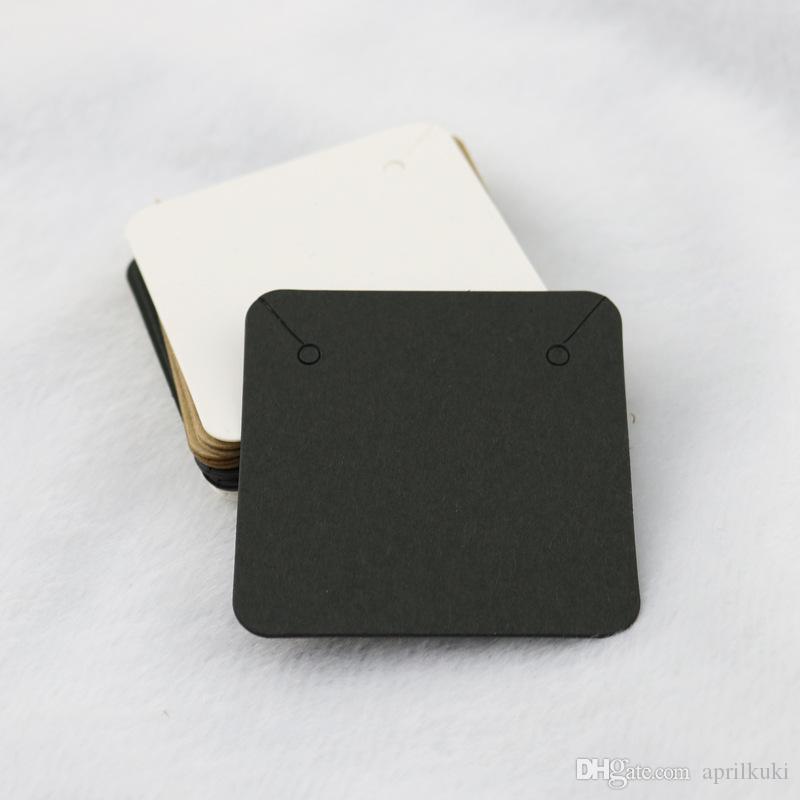 5 * 5CM قلادة عرض بطاقات أسود أبيض كرافت ورقة فارغة قلادة بطاقات مجوهرات كلاسيكي مجوهرات عرض بطاقة تقبل شعار مخصص