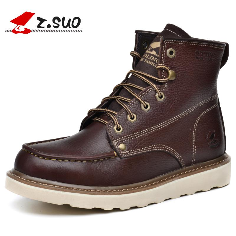 5823227f493b Z.Suo Brand Winter Warm Snow Boots Men Natural Leather Motorcycle Ankle  Boots Fashion High Top Waterproof Male Casual Clearance Ski Boots Boots No  7 From ...