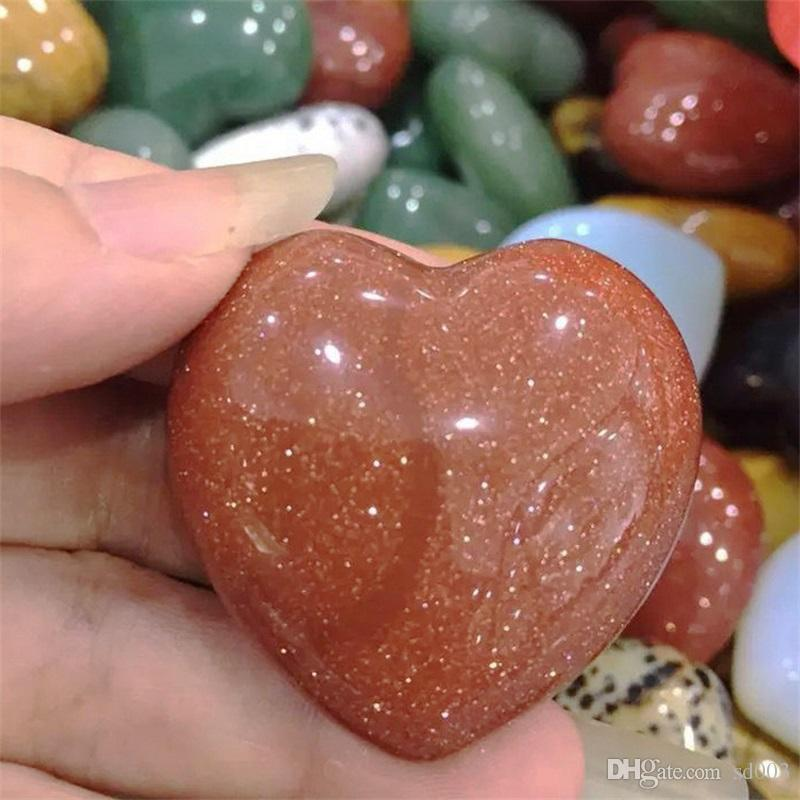 Natural Powder Crystal Stone Carving Craft Energy Bling Design Peach Stones  Love Heart Shape Semi Jewel Rough Lover Gift 28yt ZZ