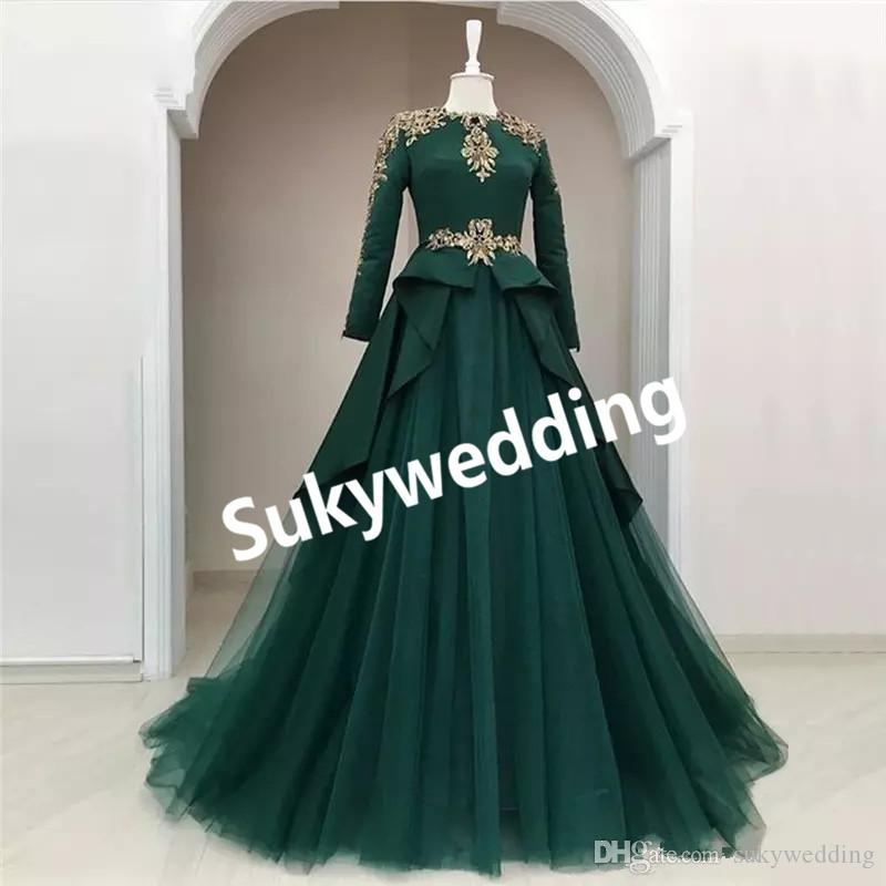 Dark Green Prom Dresses With Gold Lace Ball Gowns Long Sleeves Jewel ...