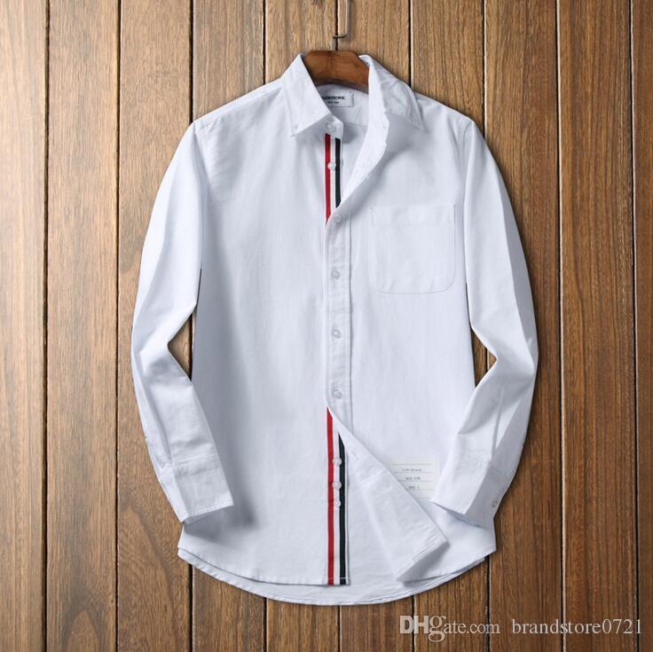 950c7c5c16b Compre Camisa Blanca De Algodón A Rayas Para Hombre Camisa De Oficina  Oxford Para Hombre Personalidad Slim Fit Hombre Camisas De Vestir Para  Hombres Al Por ...