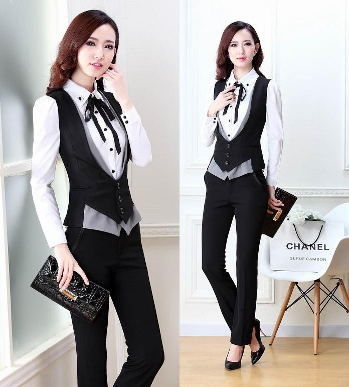 2019 New Plus Size 2015 Spring Autumn Novelty Grey Office Work Wear Women s  Suits With Pants Ladies Female Clothing Set Vest + Pants From Cailey 760ac95d9192