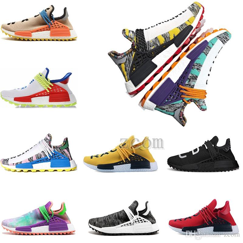 designer fashion edae0 5ae66 2018 Human Race Creme X PW HU NMD NERD Solar Pack Running Shoes Pharrell  Williams Afro Hu Trail Equality Women Mens Trainers Sneakers