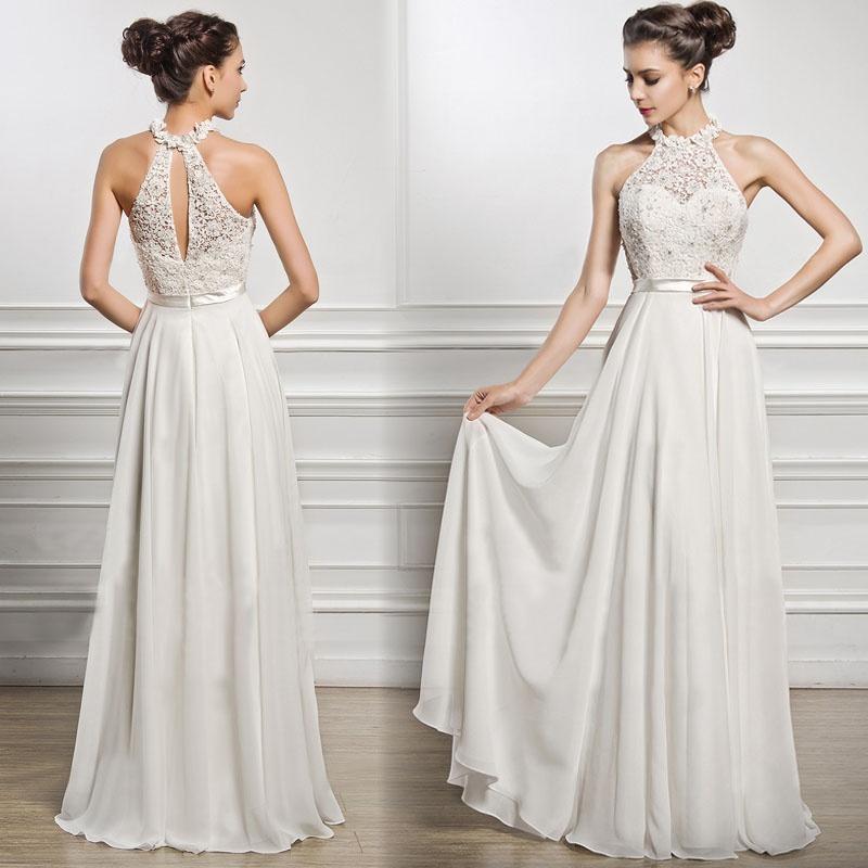 2018 White Elegant Halter Collar Party Dress Princess Maxi Dresses ...