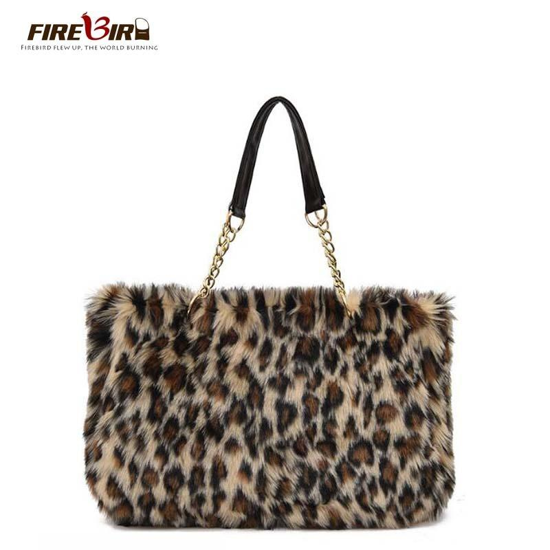 Winter Faux Fur Handbag Women Shoulder Bags Large Capacity Casual Tote Bag  Fashion Leopard Handbag Chain Bag Bolsa Feminina Y18102503 Totes Bags  Leather ... 25153e6ad203a