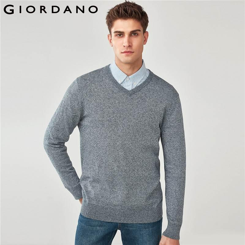 a6586dba340 2019 Giordano Men Pullover Sweater Men Combed Cotton V Neck Pullover Mens  Sweater 12 Needle Knitt V Neck Ribbed Knitted Wear Winter From Baimu