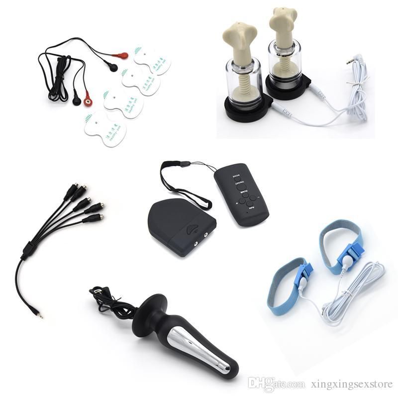 Électro Shock Set Sans Fil Télécommande Penis Plug Pads De Massage Anneau De Pénis Anal Plug Nipple Clamps Mamelon Sucker Sex Toys