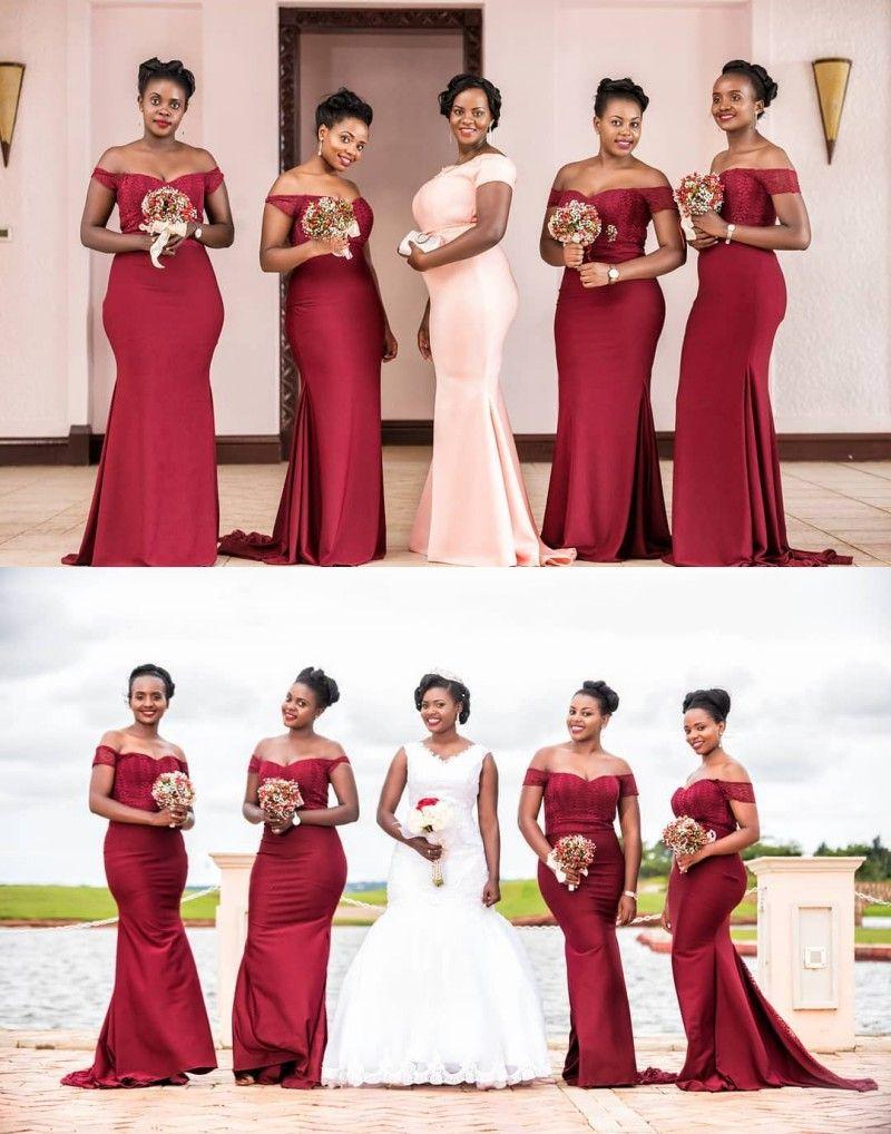 2018 New Design Burgundy Mermaid Off Shoulders Long Bridesmaid Dresses Lace  Appliqued Satin Wedding Party Guest Wear Arabic African Wear Long Dresses  ... fe43bb1d30e9