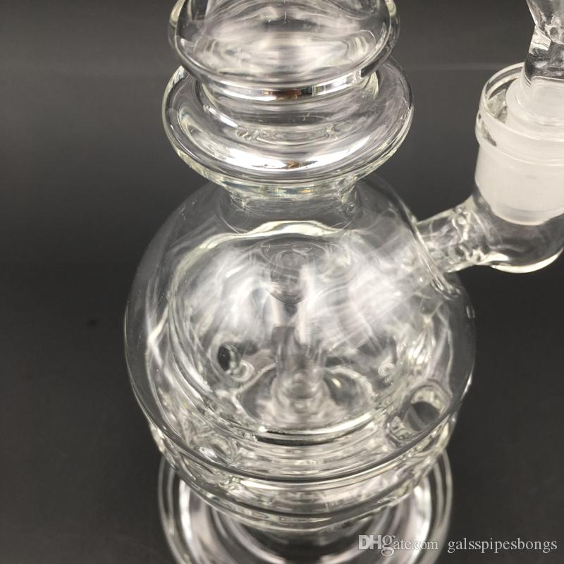 Clear Fab Egg Glass Bong Showerhead Perc Water Pipes With 14mm Banger Recycler Bongs Oil Rigs Swiss Perc Dab Rig