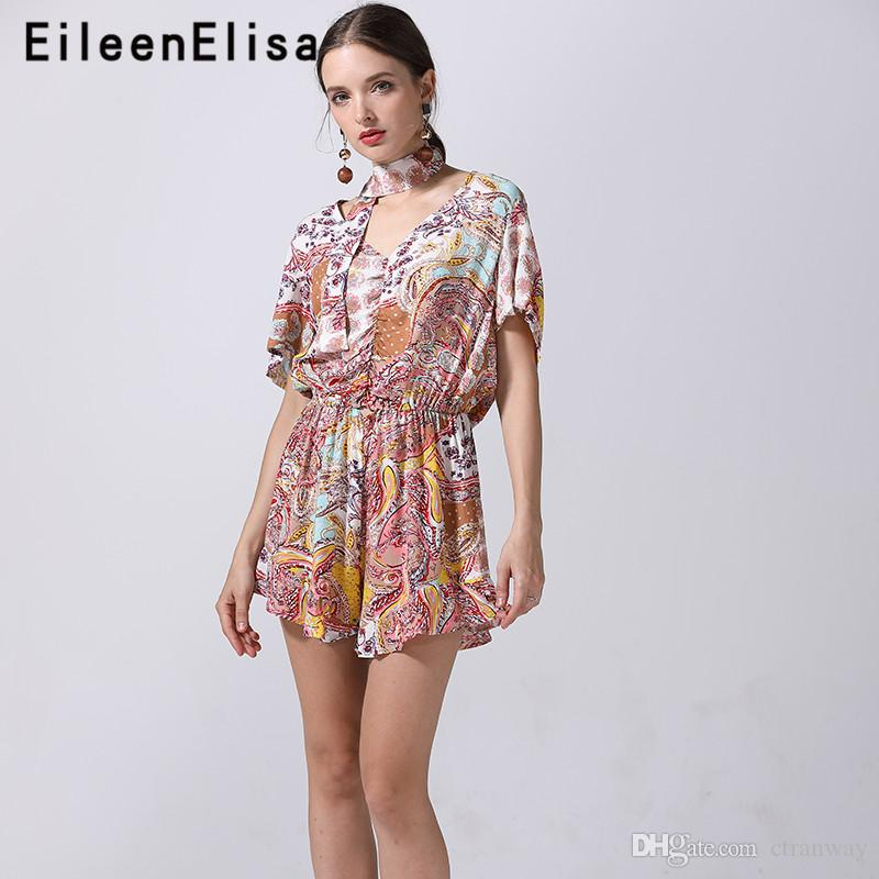 2019 Boho Playsuit Print Romper Jumpsuit Women V Neck Casual 2018