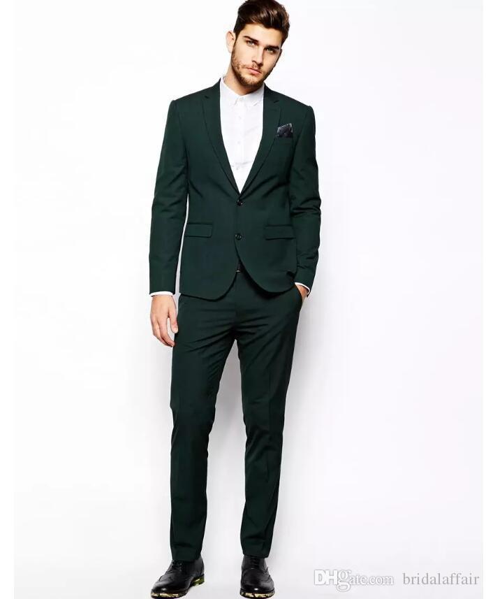 2019 designer dark green mens suit two pieces groom suit wedding