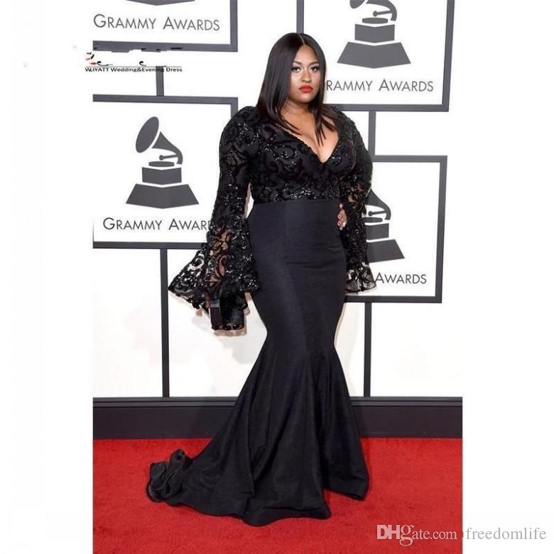 2018 Black Plus Size Evening Dresses Long Sleeves V Neck Bell Lace Applique  Celebrity Runway Mermaid Prom Dresses yousef aljasmi