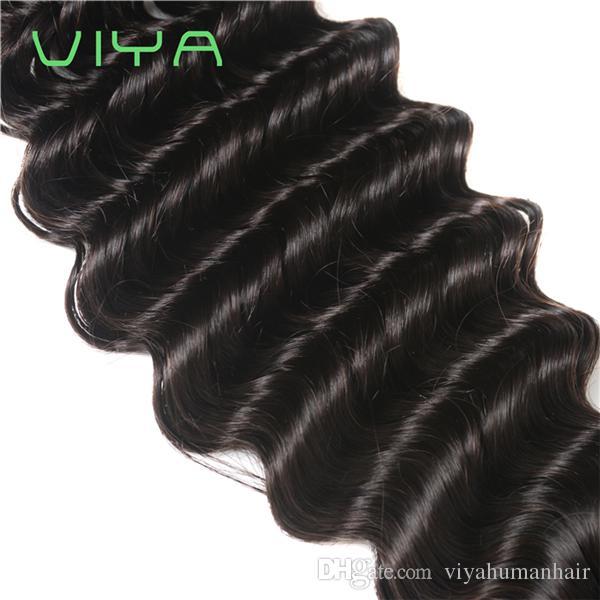 VIYA 8A Grade Virgin Unprocessed Human Hair Brazilian Deep Wave Virgin Hair Brazilian Hair Weave Bundles